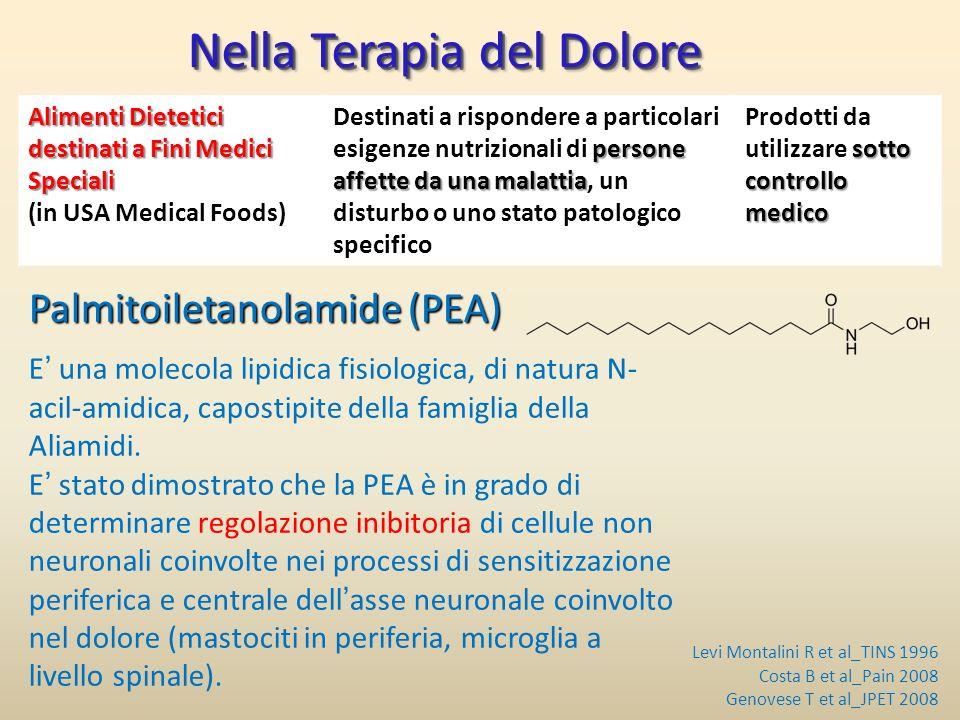 Nella Terapia del Dolore Palmitoiletanolamide (PEA) E una molecola lipidica fisiologica, di natura N- acil-amidica, capostipite della famiglia della A