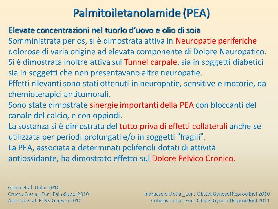 Palmitoiletanolamide (PEA) Palmitoiletanolamide (PEA) Elevate concentrazioni nel tuorlo duovo e olio di soia Somministrata per os, si è dimostrata att