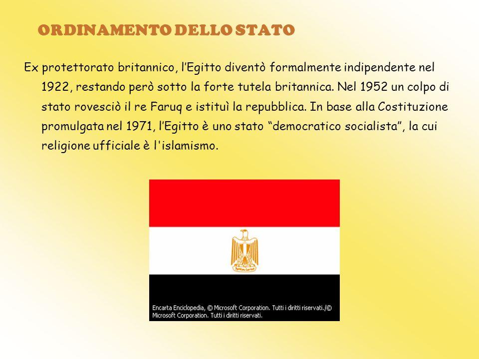 ORDINAMENTO DELLO STATO Ex protettorato britannico, lEgitto diventò formalmente indipendente nel 1922, restando però sotto la forte tutela britannica.