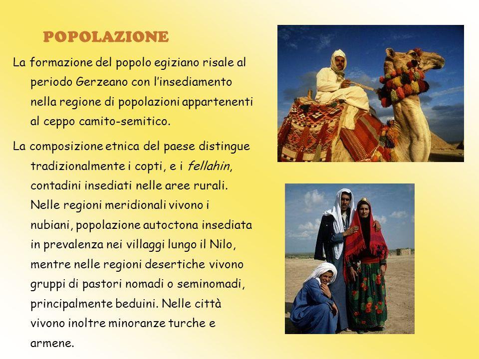 POPOLAZIONE La formazione del popolo egiziano risale al periodo Gerzeano con linsediamento nella regione di popolazioni appartenenti al ceppo camito-s