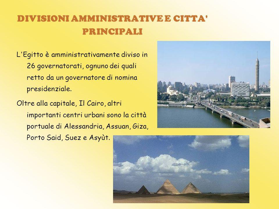DIVISIONI AMMINISTRATIVE E CITTA' PRINCIPALI L'Egitto è amministrativamente diviso in 26 governatorati, ognuno dei quali retto da un governatore di no