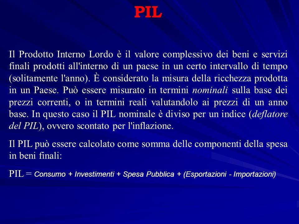 PIL Il Prodotto Interno Lordo è il valore complessivo dei beni e servizi finali prodotti all interno di un paese in un certo intervallo di tempo (solitamente l anno).