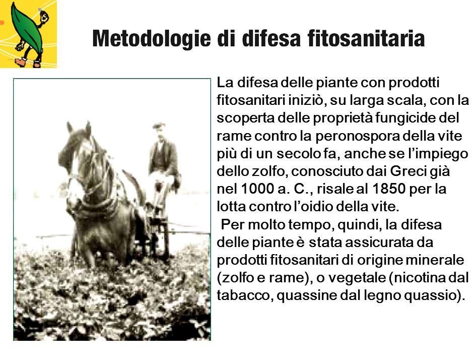 La difesa delle piante con prodotti fitosanitari iniziò, su larga scala, con la scoperta delle proprietà fungicide del rame contro la peronospora dell