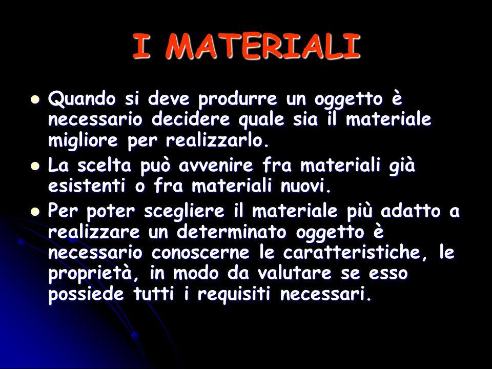 I MATERIALI Quando si deve produrre un oggetto è necessario decidere quale sia il materiale migliore per realizzarlo.
