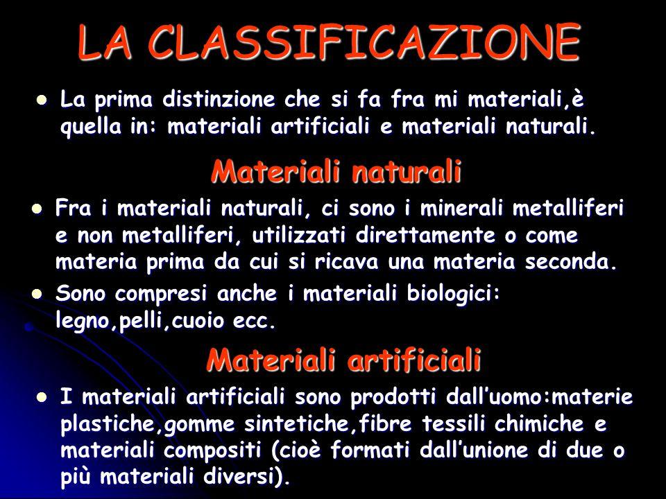 LA CLASSIFICAZIONE La prima distinzione che si fa fra mi materiali,è quella in: materiali artificiali e materiali naturali. La prima distinzione che s