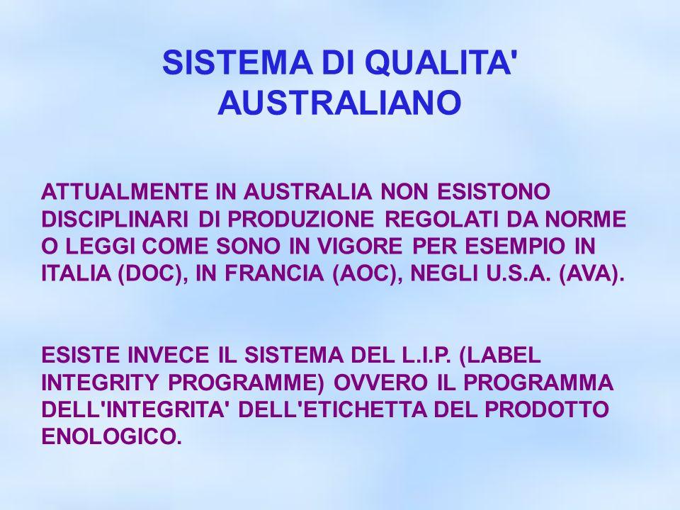 SISTEMA DI QUALITA' AUSTRALIANO ATTUALMENTE IN AUSTRALIA NON ESISTONO DISCIPLINARI DI PRODUZIONE REGOLATI DA NORME O LEGGI COME SONO IN VIGORE PER ESE