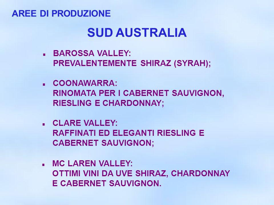 AREE DI PRODUZIONE BAROSSA VALLEY: PREVALENTEMENTE SHIRAZ (SYRAH); COONAWARRA: RINOMATA PER I CABERNET SAUVIGNON, RIESLING E CHARDONNAY; MC LAREN VALL