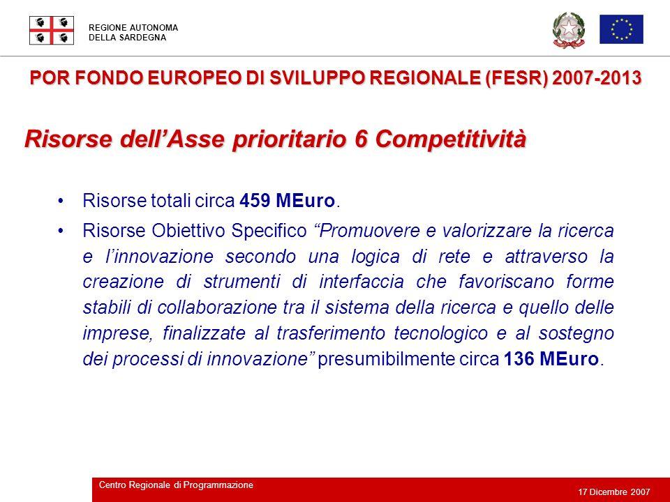 REGIONE AUTONOMA DELLA SARDEGNA 17 Dicembre 2007 Centro Regionale di Programmazione POR FONDO EUROPEO DI SVILUPPO REGIONALE (FESR) 2007-2013 Risorse t