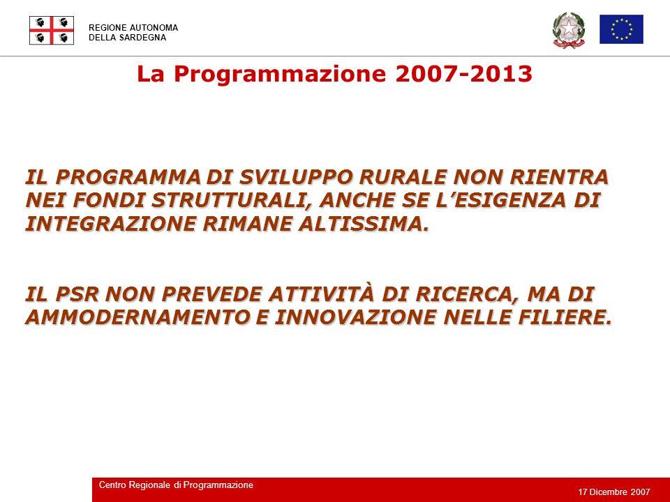 REGIONE AUTONOMA DELLA SARDEGNA 17 Dicembre 2007 Centro Regionale di Programmazione La Programmazione 2007-2013 LA PROGRAMMAZIONE DELLE RISORSE DEL FONDO PER LE AREE SOTTOUTILIZZATE (FAS) AVVERRÀ ALLINTERNO DELLINTESA ISTITUZIONALE DI PROGRAMMA ATTRAVERSO ACCORDI DI PROGRAMMA QUADRO.