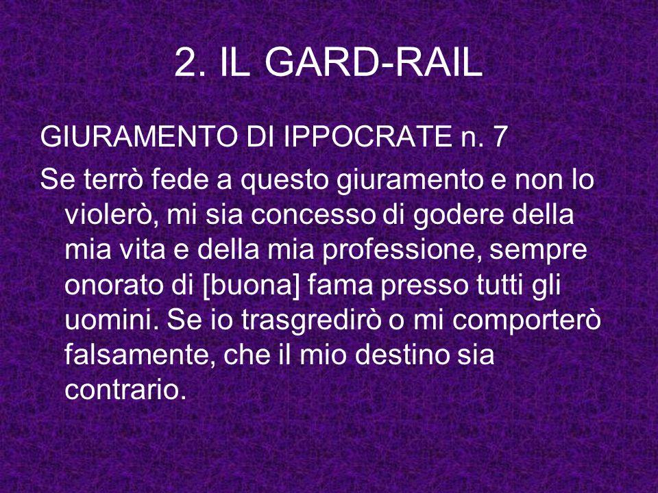 2. IL GARD-RAIL GIURAMENTO DI IPPOCRATE n. 7 Se terrò fede a questo giuramento e non lo violerò, mi sia concesso di godere della mia vita e della mia