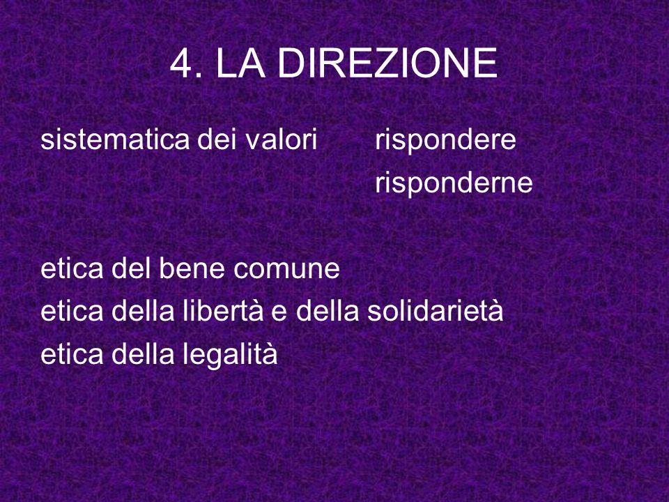 4. LA DIREZIONE sistematica dei valoririspondere risponderne etica del bene comune etica della libertà e della solidarietà etica della legalità