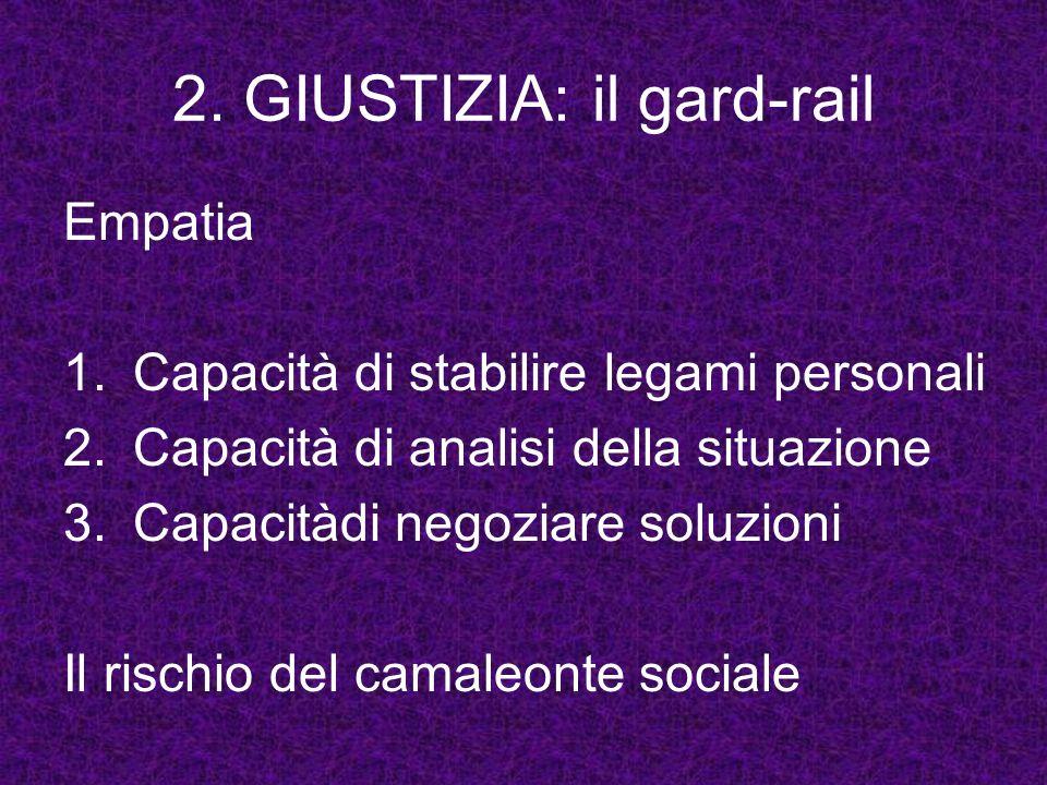 2. GIUSTIZIA: il gard-rail Empatia 1.Capacità di stabilire legami personali 2. Capacità di analisi della situazione 3.Capacitàdi negoziare soluzioni I