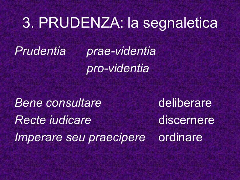 3. PRUDENZA: la segnaletica Prudentiaprae-videntia pro-videntia Bene consultare deliberare Recte iudicarediscernere Imperare seu praecipereordinare