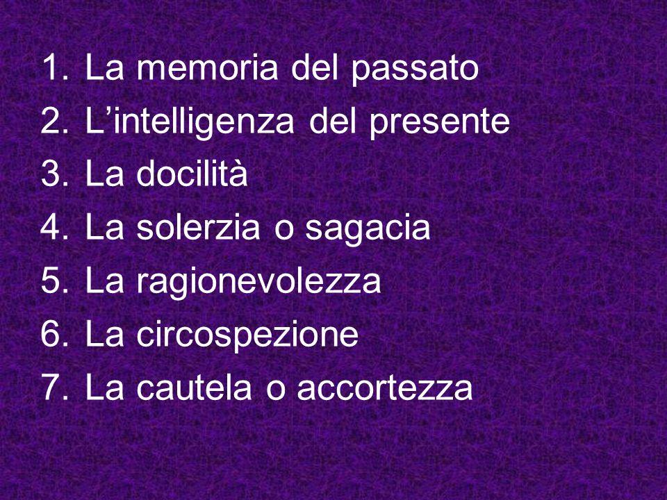 1.La memoria del passato 2.Lintelligenza del presente 3.La docilità 4.La solerzia o sagacia 5.La ragionevolezza 6.La circospezione 7.La cautela o acco