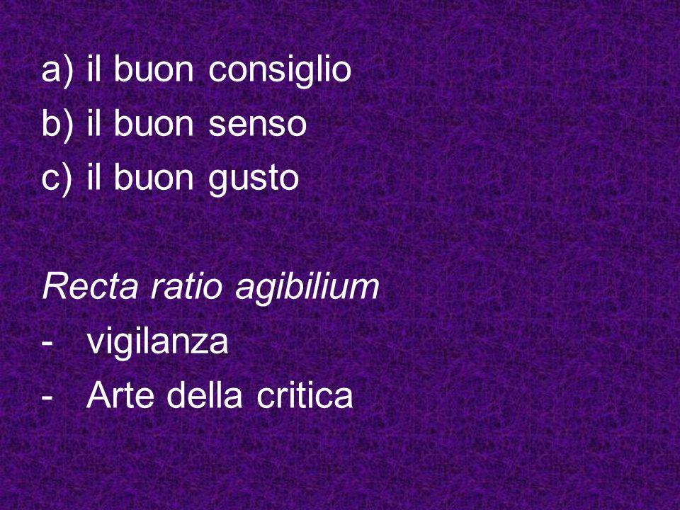 a)il buon consiglio b)il buon senso c)il buon gusto Recta ratio agibilium -vigilanza -Arte della critica
