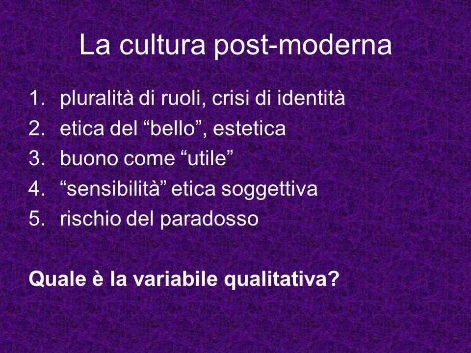 La cultura post-moderna 1.pluralità di ruoli, crisi di identità 2.etica del bello, estetica 3.buono come utile 4.sensibilità etica soggettiva 5.rischi