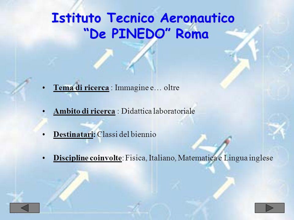 Istituto Tecnico Aeronautico De PINEDO Roma Tema di ricerca : Immagine e… oltre Ambito di ricerca : Didattica laboratoriale Destinatari: Classi del biennio Discipline coinvolte: Fisica, Italiano, Matematica e Lingua inglese