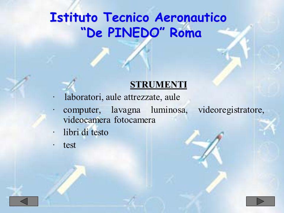 STRUMENTI · laboratori, aule attrezzate, aule ·computer, lavagna luminosa, videoregistratore, videocamera fotocamera ·libri di testo ·test Istituto Tecnico Aeronautico De PINEDO Roma