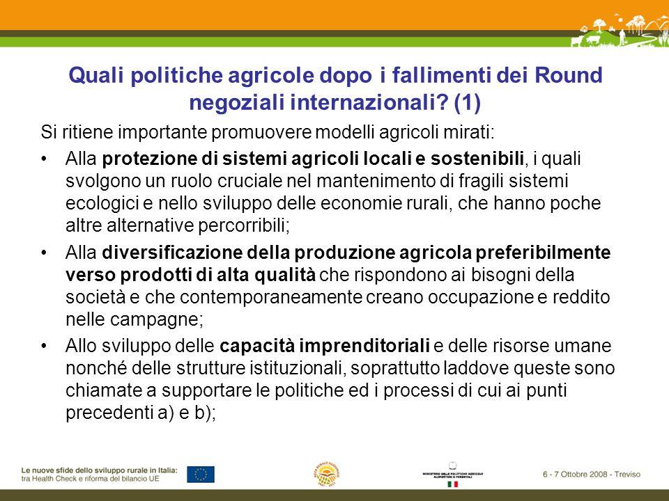 Quali politiche agricole dopo i fallimenti dei Round negoziali internazionali.