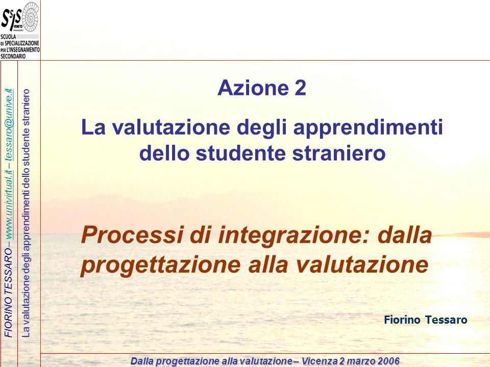 FIORINO TESSARO – www.univirtual.it – tessaro@unive.itwww.univirtual.ittessaro@unive.it La valutazione degli apprendimenti dello studente straniero Da
