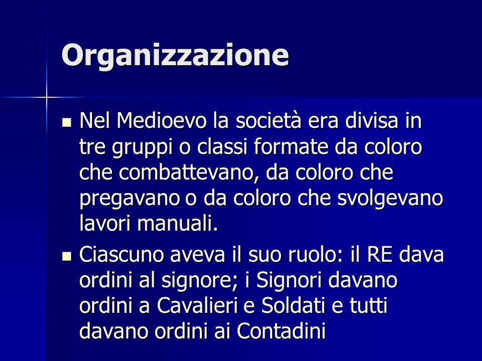 Organizzazione Nel Medioevo la società era divisa in tre gruppi o classi formate da coloro che combattevano, da coloro che pregavano o da coloro che s