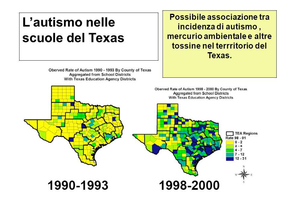 Lautismo nelle scuole del Texas Possibile associazione tra incidenza di autismo, mercurio ambientale e altre tossine nel terrritorio del Texas. Lautis