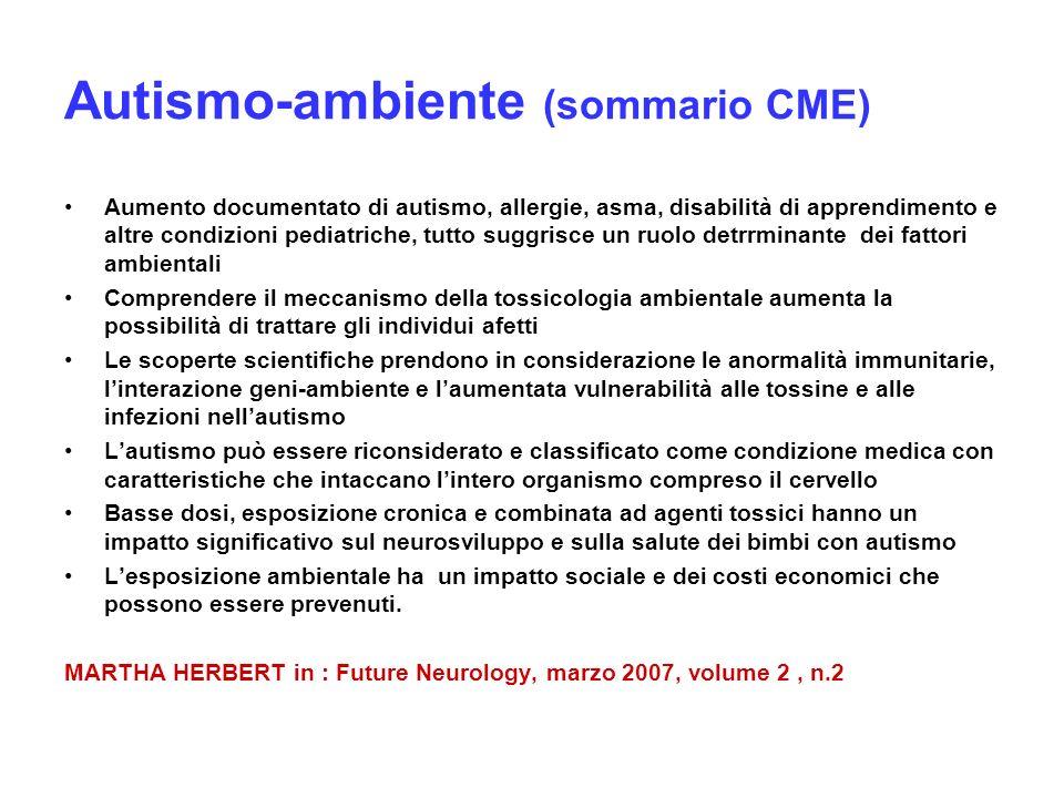 Autismo-ambiente (sommario CME) Aumento documentato di autismo, allergie, asma, disabilità di apprendimento e altre condizioni pediatriche, tutto sugg