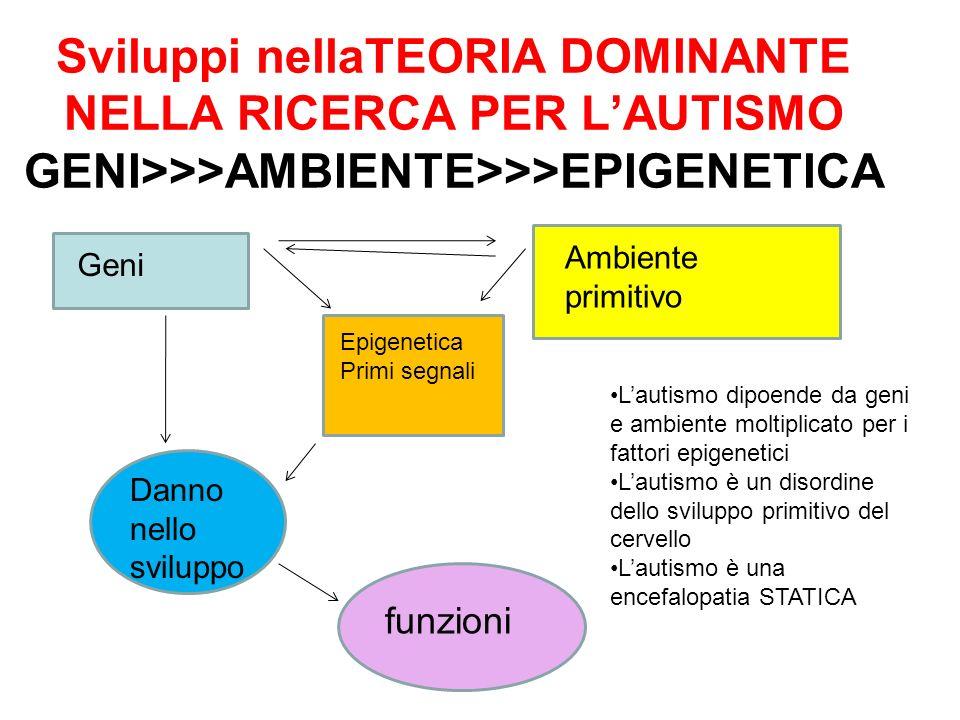 Sviluppi nellaTEORIA DOMINANTE NELLA RICERCA PER LAUTISMO GENI>>>AMBIENTE>>>EPIGENETICA Geni Ambiente primitivo Epigenetica Primi segnali Danno nello
