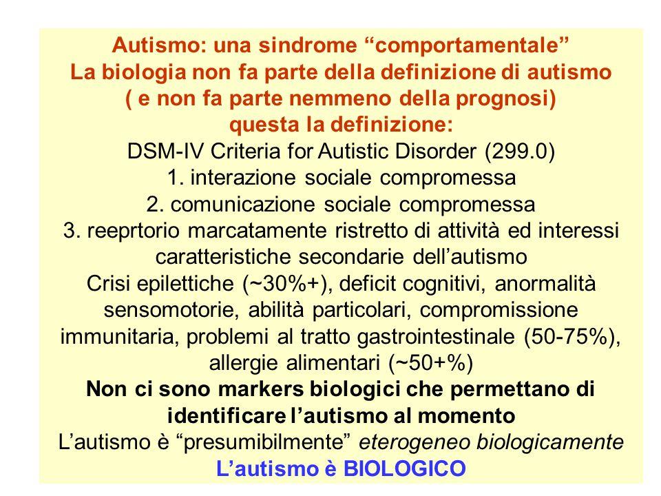 Autismo: una sindrome comportamentale La biologia non fa parte della definizione di autismo ( e non fa parte nemmeno della prognosi) questa la definiz