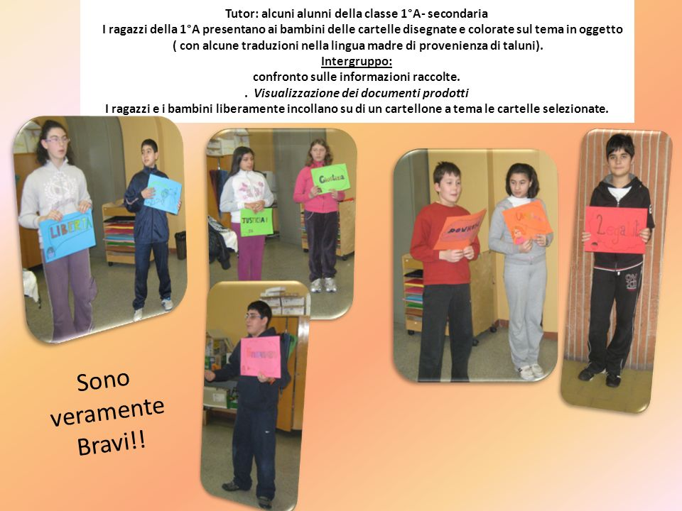 Tutor: alcuni alunni della classe 1°A- secondaria I ragazzi della 1°A presentano ai bambini delle cartelle disegnate e colorate sul tema in oggetto (