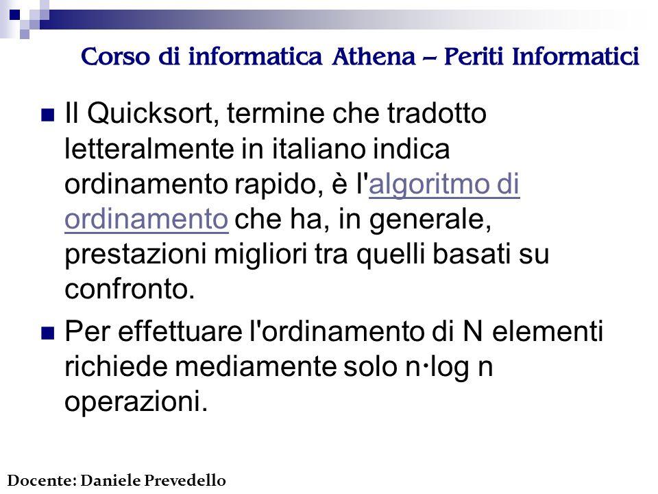 Corso di informatica Athena – Periti Informatici Il Quicksort, termine che tradotto letteralmente in italiano indica ordinamento rapido, è l algoritmo di ordinamento che ha, in generale, prestazioni migliori tra quelli basati su confronto.algoritmo di ordinamento Per effettuare l ordinamento di N elementi richiede mediamente solo n log n operazioni.