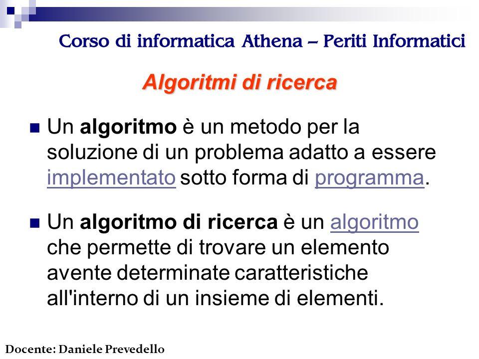 Corso di informatica Athena – Periti Informatici Problema… Ho questo array: int prodotti[5]={5, 23, 1, 9, 52}; Come faccio a sapere se nel mio array è presente il valore 9.