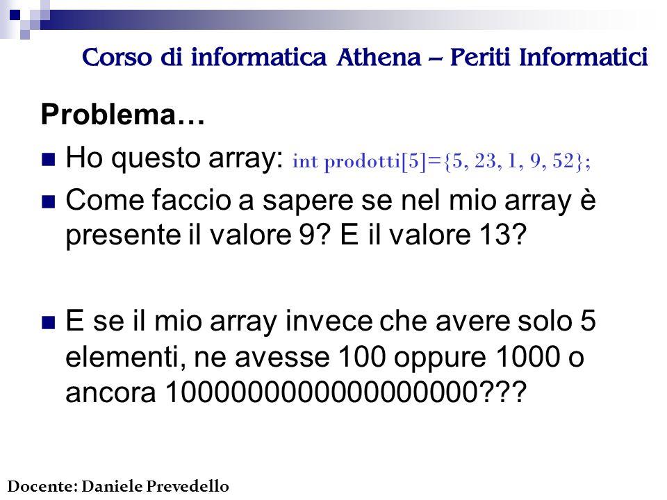 Corso di informatica Athena – Periti Informatici void quicksort(int array[], int left, int right) { int i; if (right <= left) return; i=partition(array, left, right); quicksort(array, left, i-1); quicksort(array, i+1, right); } Docente: Daniele Prevedello