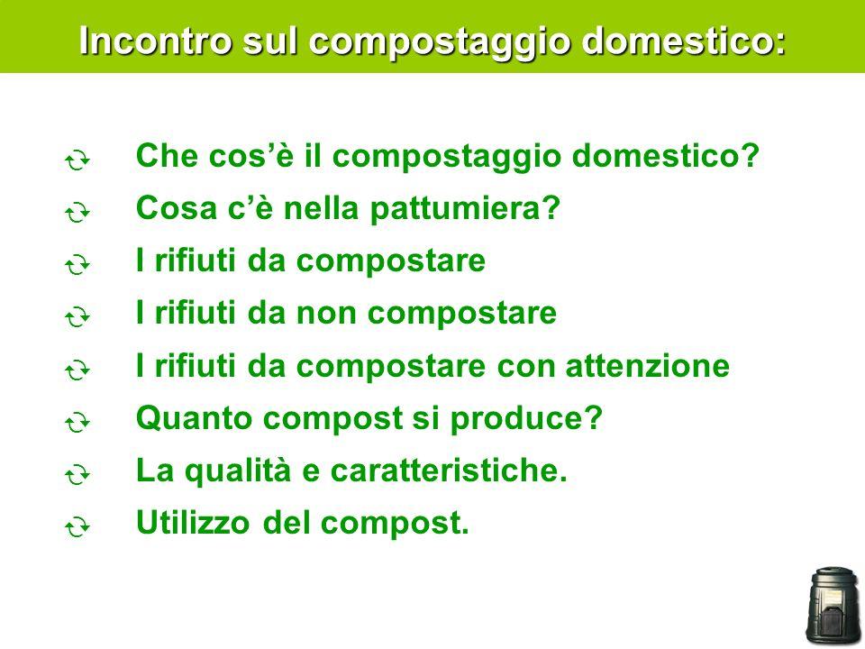 Incontro sul compostaggio domestico: Che cosè il compostaggio domestico? Cosa cè nella pattumiera? I rifiuti da compostare I rifiuti da non compostare