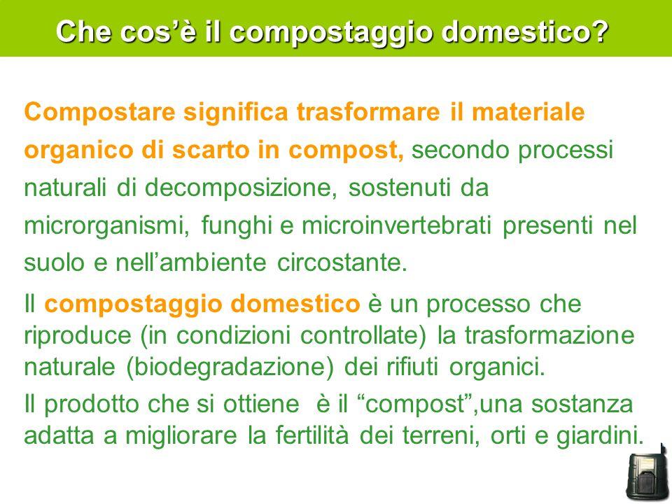 Che cosè il compostaggio domestico? Compostare significa trasformare il materiale organico di scarto in compost, secondo processi naturali di decompos
