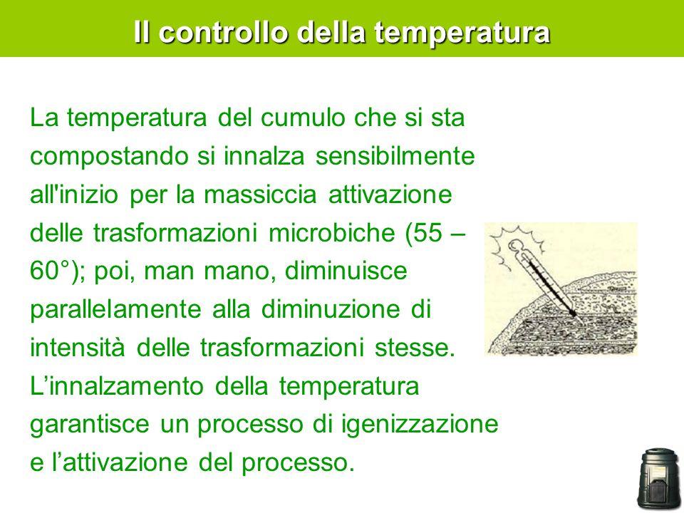 Il controllo della temperatura La temperatura del cumulo che si sta compostando si innalza sensibilmente all inizio per la massiccia attivazione delle trasformazioni microbiche (55 – 60°); poi, man mano, diminuisce parallelamente alla diminuzione di intensità delle trasformazioni stesse.