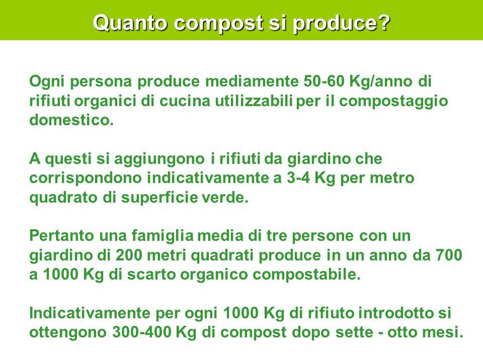 Quanto compost si produce? Ogni persona produce mediamente 50-60 Kg/anno di rifiuti organici di cucina utilizzabili per il compostaggio domestico. A q