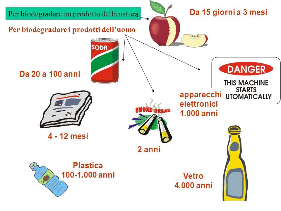 Vetro 4.000 anni Da 15 giorni a 3 mesi 2 anni Da 20 a 100 anni 4 - 12 mesi Plastica 100-1.000 anni apparecchi elettronici 1.000 anni Per biodegradare