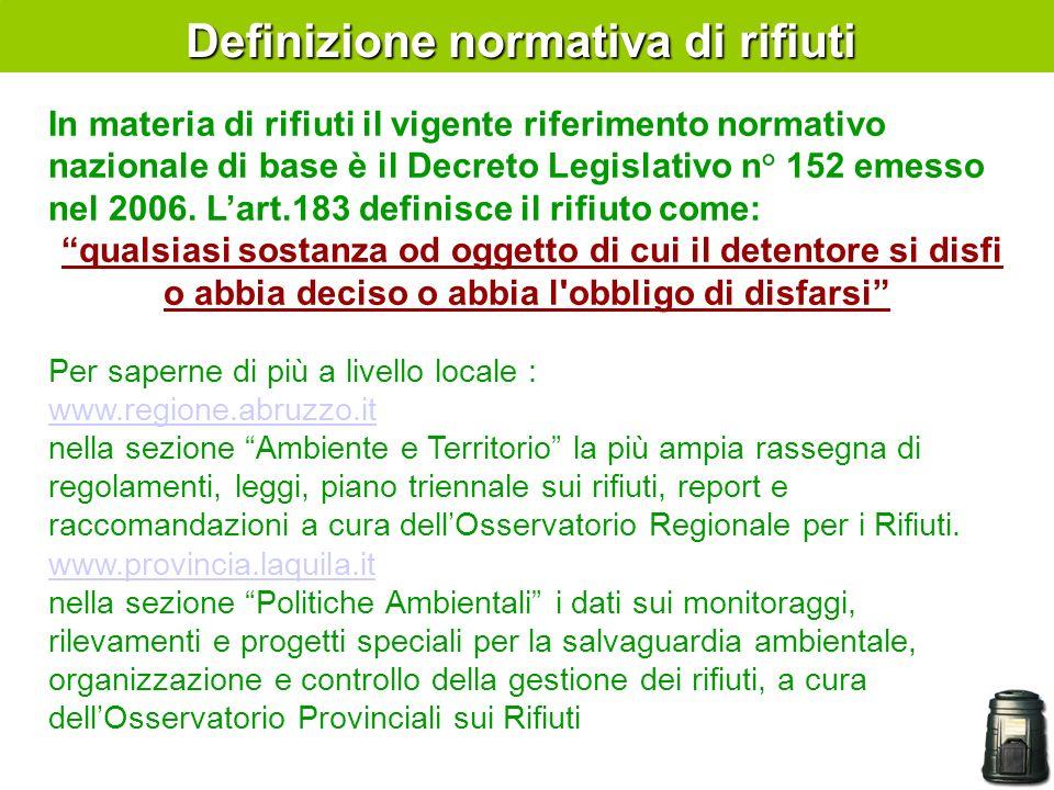 In materia di rifiuti il vigente riferimento normativo nazionale di base è il Decreto Legislativo n° 152 emesso nel 2006.