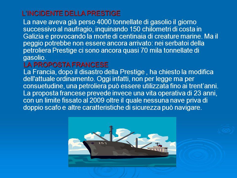 LINCIDENTE DELLA PRESTIGE LINCIDENTE DELLA PRESTIGE La nave aveva già perso 4000 tonnellate di gasolio il giorno successivo al naufragio, inquinando 150 chilometri di costa in Galizia e provocando la morte di centinaia di creature marine.