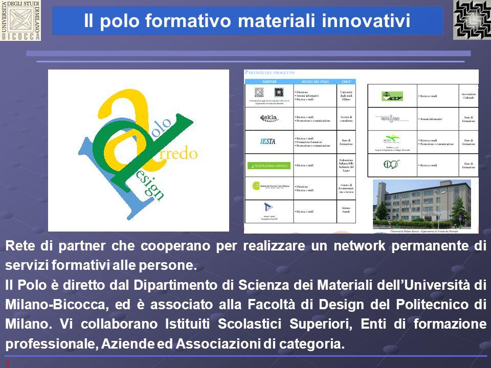 1 Il polo formativo materiali innovativi Rete di partner che cooperano per realizzare un network permanente di servizi formativi alle persone. Il Polo