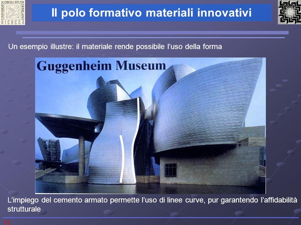12 Il polo formativo materiali innovativi Un esempio illustre: il materiale rende possibile luso della forma Limpiego del cemento armato permette luso