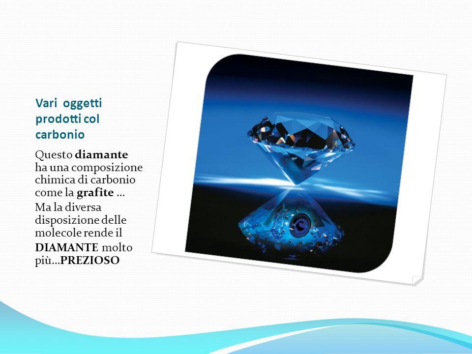 Vari oggetti prodotti col carbonio Questo diamante ha una composizione chimica di carbonio come la grafite … Ma la diversa disposizione delle molecole rende il DIAMANTE molto più…PREZIOSO