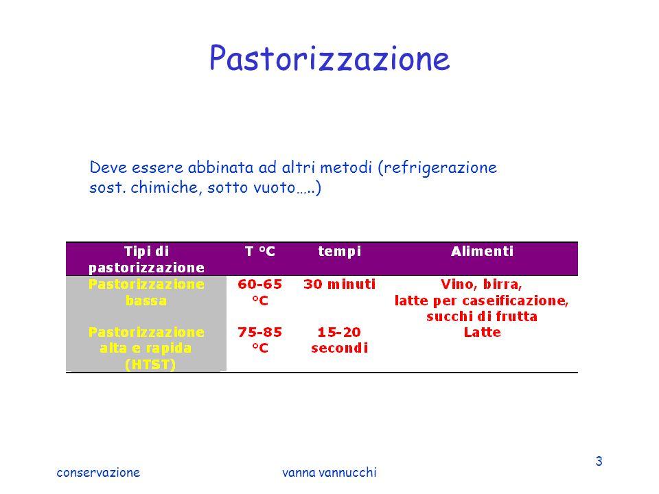 conservazionevanna vannucchi 3 Pastorizzazione Deve essere abbinata ad altri metodi (refrigerazione sost. chimiche, sotto vuoto…..)