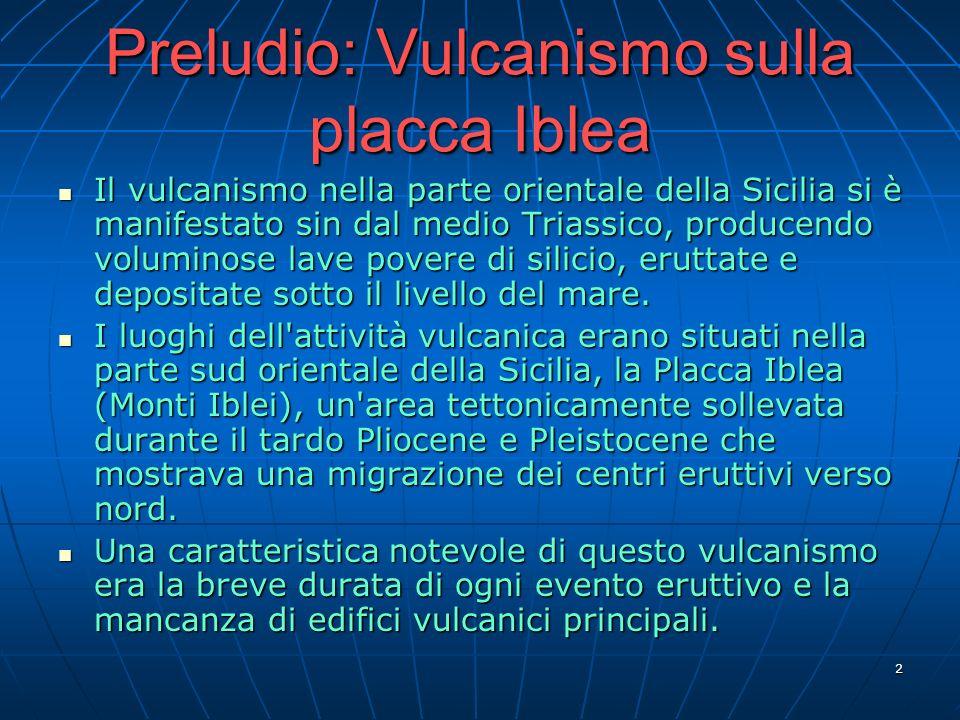 2 Preludio: Vulcanismo sulla placca Iblea Il vulcanismo nella parte orientale della Sicilia si è manifestato sin dal medio Triassico, producendo volum