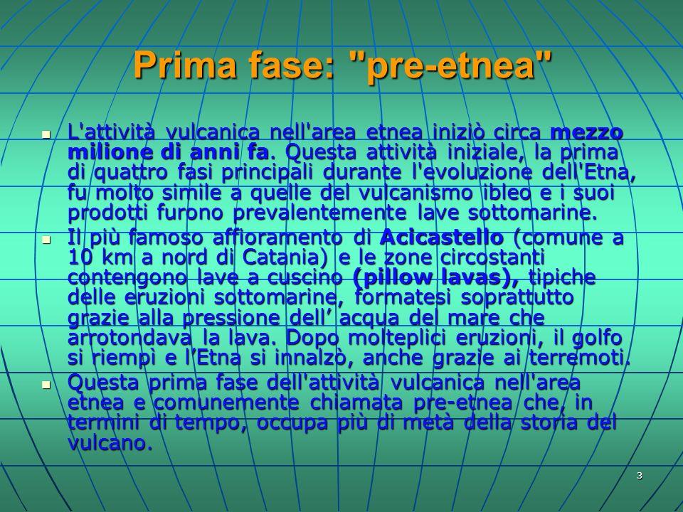 4 Seconda fase: Antica Etna La seconda fase del vulcanismo dell Etna, chiamata Antica Etna , iniziò con diverse eruzioni localizzate, come il centro eruttivo di Paternò (datato tra 158 mila e 178 mila anni fa), di cui ancora oggi si possono osservare le cosiddette Salinelle.