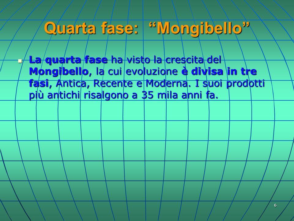 6 Quarta fase: Mongibello La quarta fase ha visto la crescita del Mongibello, la cui evoluzione è divisa in tre fasi, Antica, Recente e Moderna. I suo