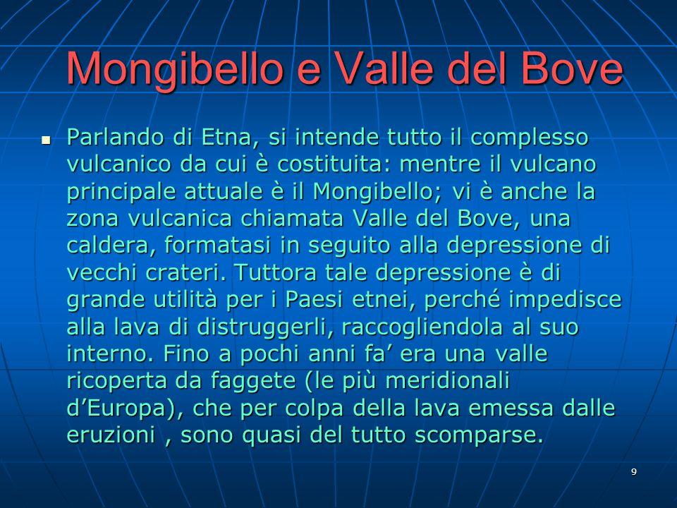 9 Mongibello e Valle del Bove Parlando di Etna, si intende tutto il complesso vulcanico da cui è costituita: mentre il vulcano principale attuale è il