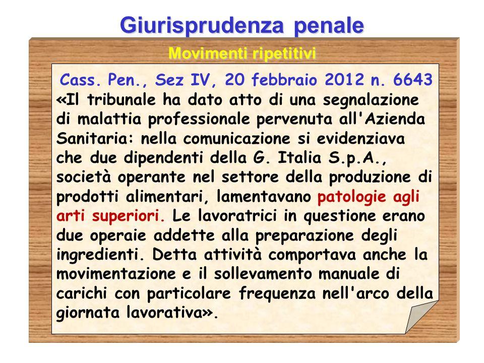 Giurisprudenza penale Movimenti ripetitivi Cass.Pen., Sez IV, 20 febbraio 2012 n.