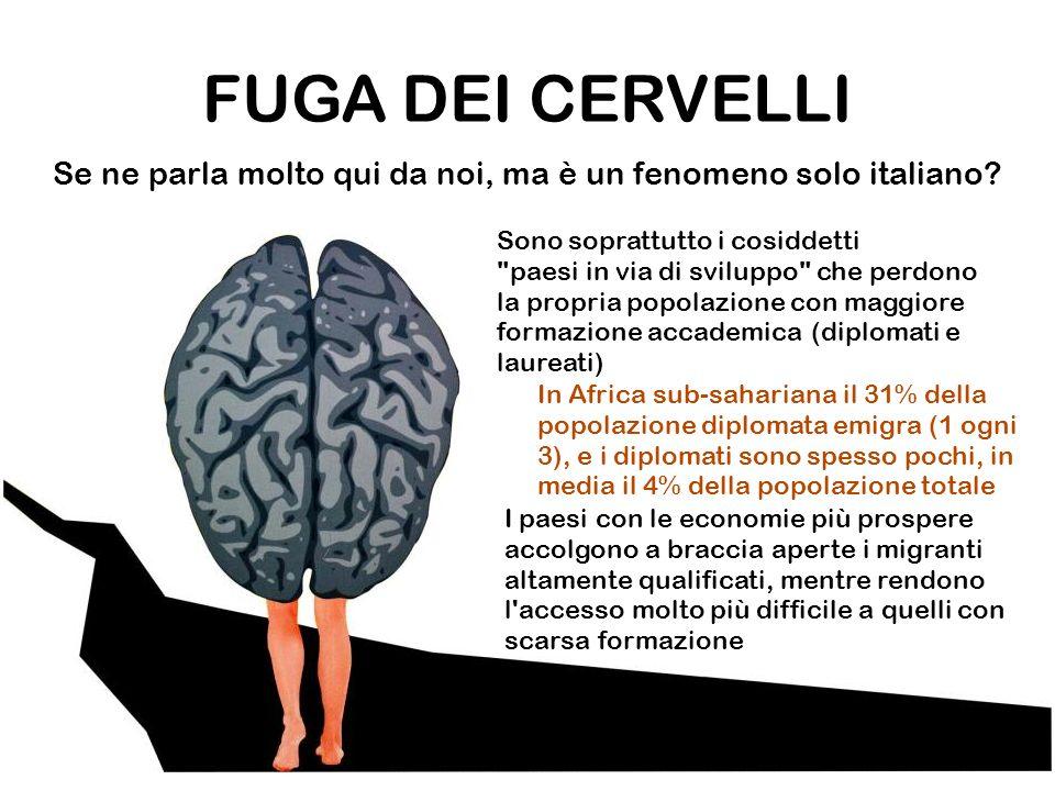 FUGA DEI CERVELLI Se ne parla molto qui da noi, ma è un fenomeno solo italiano.